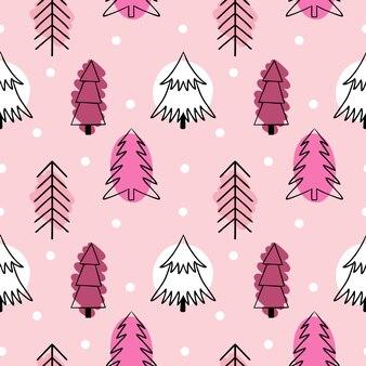 Modèle sans couture rose avec des arbres de noël mignons. arbres dans le style de doodle. arrière-plan pour l'impression sur tissu, papier peint, papier d'emballage.
