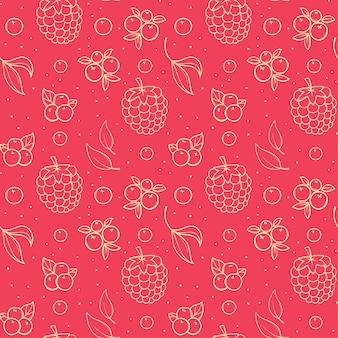 Modèle sans couture rose dessiné main avec mûre et framboise