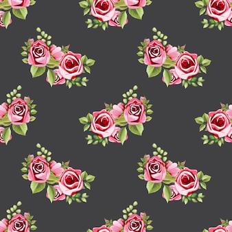 Modèle sans couture rose floral bouquet ornement