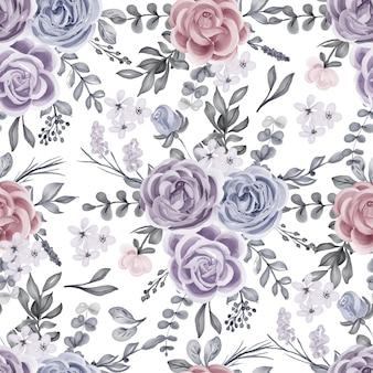 Modèle sans couture de rose d'hiver aquarelle et feuilles
