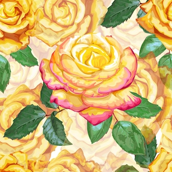 Modèle sans couture rose jaune