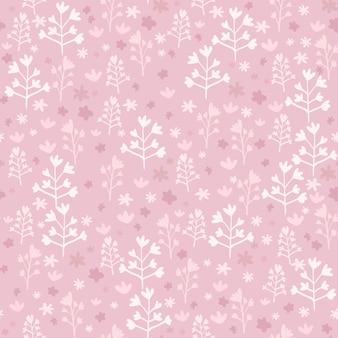 Modèle sans couture rose avec petits éléments floraux blancs. œuvre d'art stylisée dessinée à la main.