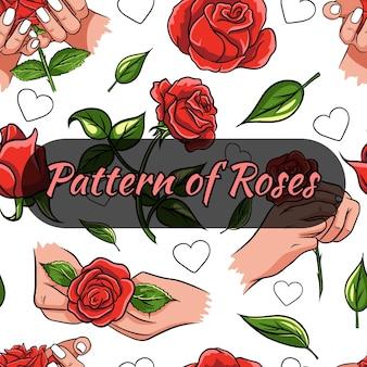 Modèle sans couture avec des roses. boutons de rose, roses dans les mains.