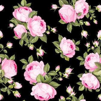 Modèle sans couture de roses de couleur luxueuse.