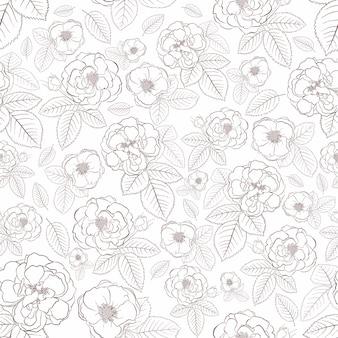 Modèle sans couture de roses avec des feuilles, marron sur blanc