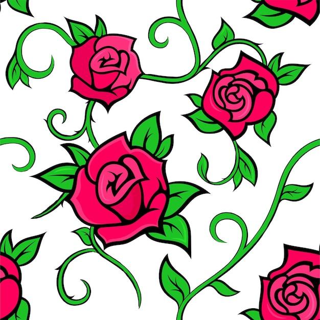 Modèle sans couture avec des roses