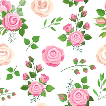 Modèle Sans Couture De Roses Vecteur Premium