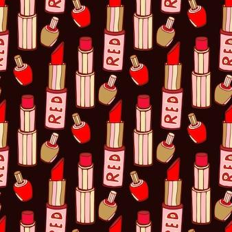Modèle sans couture avec des rouges à lèvres rouges et vernis à ongles. texture de vecteur de mode dessinés à la main sur fond sombre.