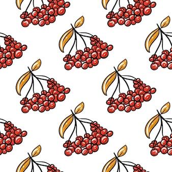 Modèle sans couture de rowan rouge. dessiné à la main