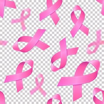 Modèle sans couture avec des rubans roses réalistes sur fond transparent. symbole de sensibilisation au cancer du sein en octobre. modèle de bannière, affiche, invitation, flyer.