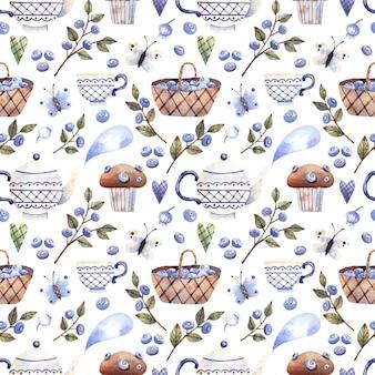 Modèle sans couture rural avec des muffins de branches de myrtilles de maisons avec des théières de tasses de myrtilles