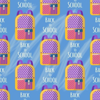 Modèle sans couture avec sac à dos pour fournitures scolaires. vector retour au fond de l'école, sac avec papeterie. accessoires de bureau.