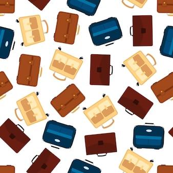 Modèle sans couture avec sac de voyage avec bagages. fond avec valise pour voyage voyage. illustration vectorielle