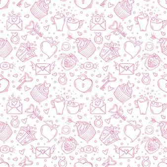 Modèle sans couture avec la saint-valentin et aime les objets monochromes dans un style doodle.