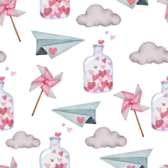 Modèle sans couture de la saint-valentin avec avion en papier, nuage et bouteille.