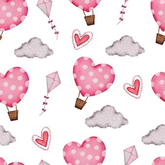 Modèle sans couture de la saint-valentin avec ballon à air, nuage et coeurs.