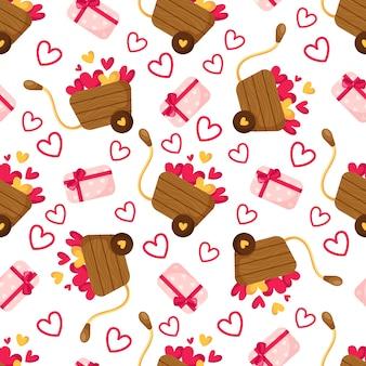 Modèle sans couture de la saint-valentin - boîte-cadeau de dessin animé avec arc, petits coeurs, chariot en bois ou brouette