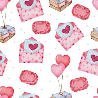 Modèle sans couture de la saint-valentin avec enveloppe, chocolat, livres.