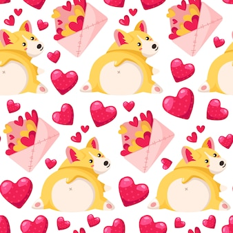 Modèle sans couture de la saint-valentin - enveloppe de dessin animé avec des coeurs, chiot corgi