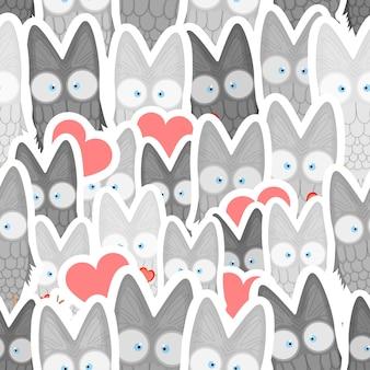 Modèle sans couture de la saint-valentin avec des hiboux mignons. modèle sans couture de style dessin animé avec mignon. illustration vectorielle