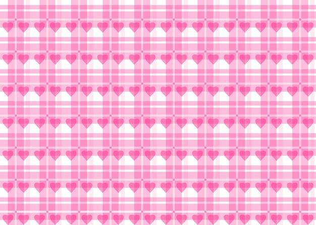 Modèle sans couture de saint valentin. nappe à carreaux rose avec des coeurs pour mariages, saint valentin et autres événements romantiques.