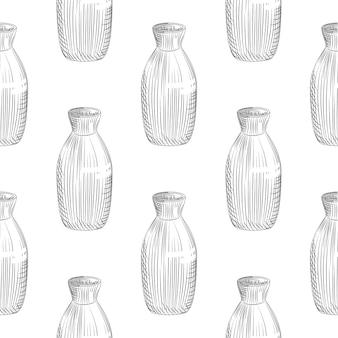 Modèle sans couture de saké japonais sur fond blanc. croquis dessiné de main de saké de bouteille en céramique.