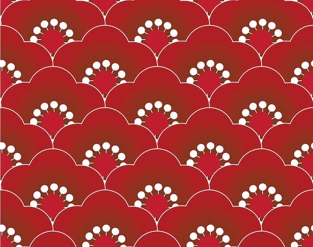 Modèle sans couture de sakura rouge