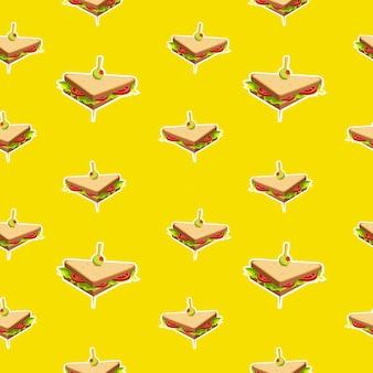 Modèle sans couture de sandwich sur fond jaune