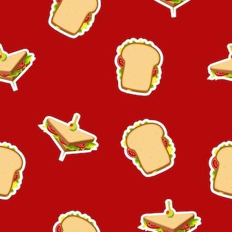 Modèle sans couture de sandwich sur fond rouge délicieux