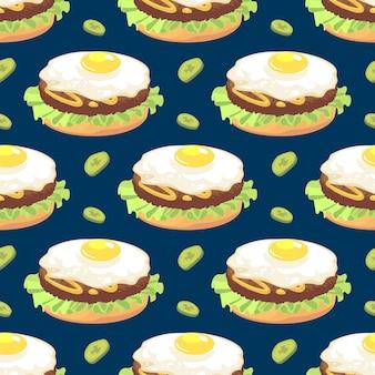 Modèle sans couture avec sandwich à l'omelette