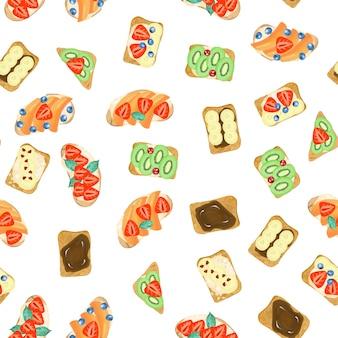Modèle sans couture de sandwichs sucrés, dessinés à la main, isolé sur fond blanc