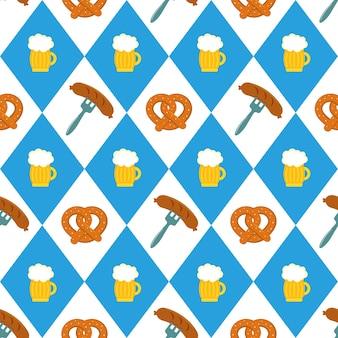 Modèle sans couture de saucisse de bière bretzels