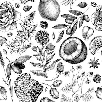 Modèle sans couture de savon dessiné à la main ingrédients naturels et toile de fond de matériaux aromatiques