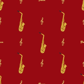Modèle sans couture avec saxophones, clés de sol et mot jazz. peut être utilisé pour l'emballage, les couvertures de livres, l'enveloppe