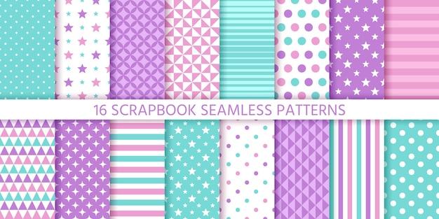 Modèle sans couture de scrapbook. ensemble de textures géométriques. illustration de couleurs pastel.