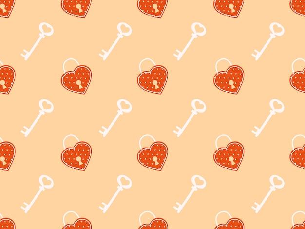 Modèle sans couture avec serrures et clés modèle mignon avec une serrure d'amour sur un fond délicat