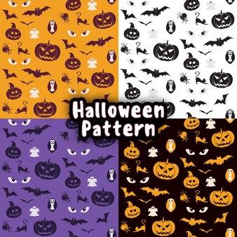 Modèle sans couture sertie de symboles traditionnels de la fête d'halloween