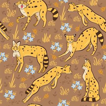 Modèle sans couture avec servals dans la savane. graphique.