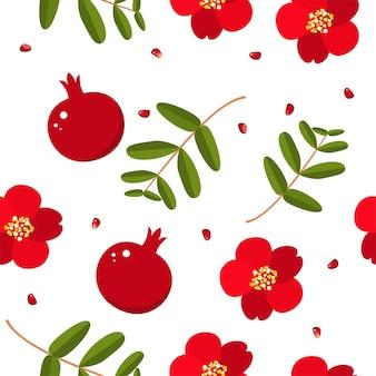 Modèle sans couture de shana tova avec grenade et fleurs. bénédiction de bonne année. éléments pour invitations, affiches, cartes de voeux.