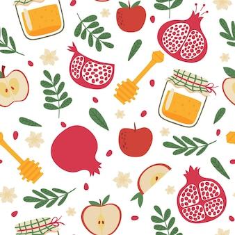 Modèle sans couture de shana tova. nouvel an juif rosh hashanah, tuile répétitive. symboles de vacances grenade, pommes et texture vectorielle de pot de miel. pot en verre avec louche de miel, fruits et feuilles de plantes