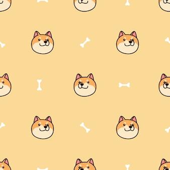 Modèle sans couture de shiba inu chien visage dessin animé