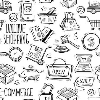 Modèle sans couture shopping en ligne