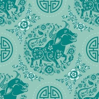 Modèle sans couture avec signe du zodiaque nouvel an chinois du signe du boeuf avec éléments asiatiques