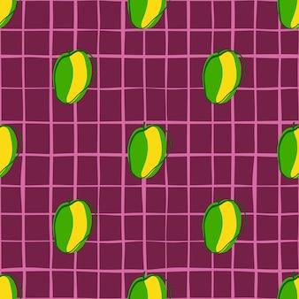 Modèle sans couture de silhouettes abricot contour vert vif