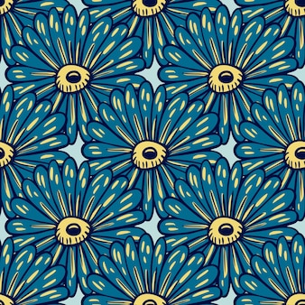 Modèle sans couture de silhouettes de gros tournesols bleu marine. impression botanique abstraite créative. fond bleu clair. illustration vectorielle pour les impressions textiles saisonnières, les tissus, les bannières, les fonds d'écran.