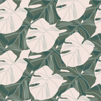 Modèle sans couture de silhouettes de monstera vert.