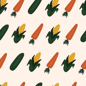 Modèle sans couture simple avec des carottes et du maïs. légumes, vitamines, végétarisme, alimentation saine, alimentation, collations, récolte. illustration dans un style plat