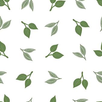 Modèle sans couture simple de feuille verte pour la conception de tissu et d'arrière-plan