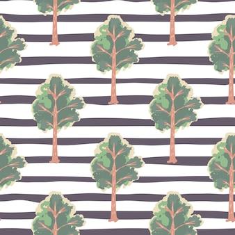 Modèle sans couture simple ornement arbre pâle. impression de forêt dessinée à la main dans des tons verts sur fond blanc avec des bandes sombres. pour papier peint, textile, papier d'emballage, impression de tissu. .