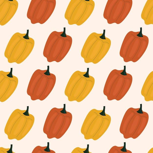 Modèle sans couture simple avec poivron, paprika. légumes, vitamines, végétarisme, alimentation saine, alimentation, collations, récolte. illustration dans un style plat